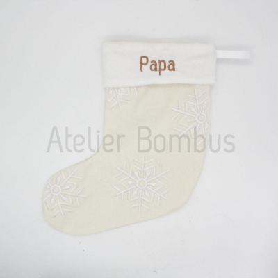 Chaussette de Noël Brodée Flocons