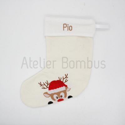 Chaussette de Noël Brodée Renne